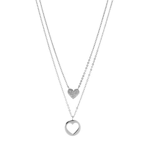 Fossil - Silver multi drop heart pendant necklace