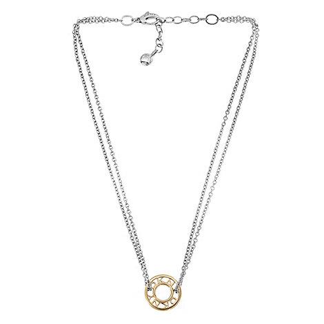 DKNY - Gold logo donut pendant necklace