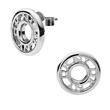 DKNY - Silver logo donut stud earrings