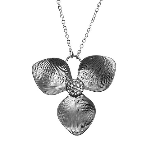 Pilgrim - Silver 2 in 1 flower pendant necklace