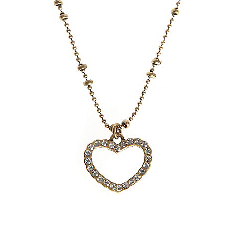 Pilgrim - Gold diamante heart pendant necklace