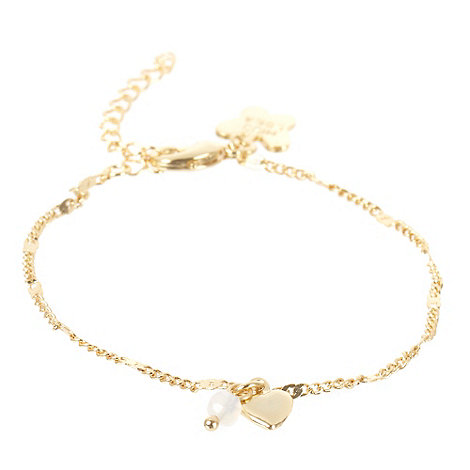 Miss Lola by Lola Rose - Gold mini heart and bead charm bracelet