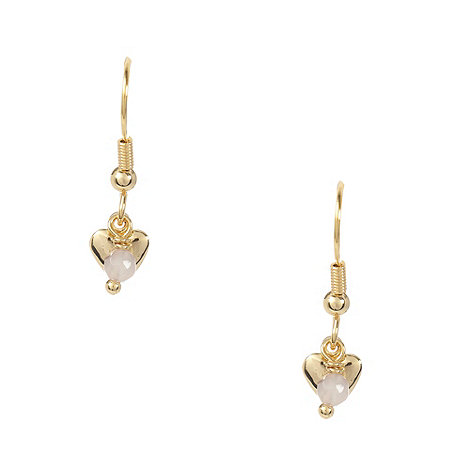 Miss Lola by Lola Rose - Gold mini heart and bead drop earrings