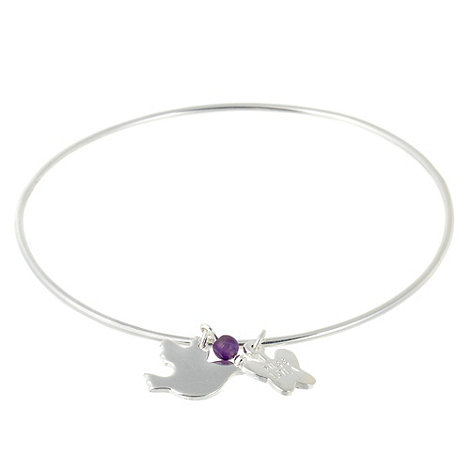 Miss Lola by Lola Rose - Amethyst bead charm and dove bangle bracelet