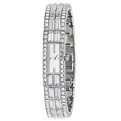 DKNY - Ladies silver coloured rectangular dial half bracelet watch