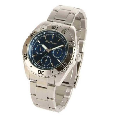 Mens blue chronograph dial stainless steel