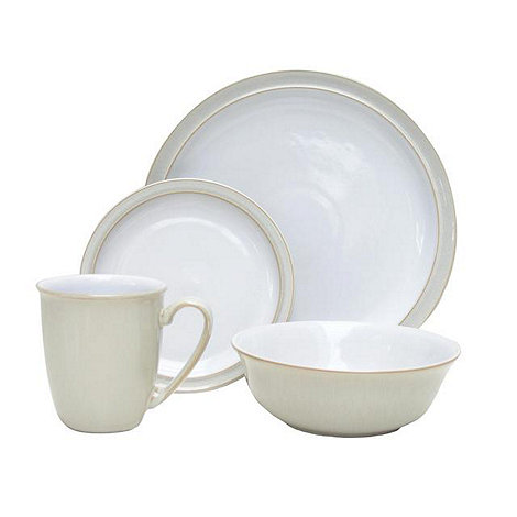 Denby - Cream and white +Linen+ 16 piece dinnerware set
