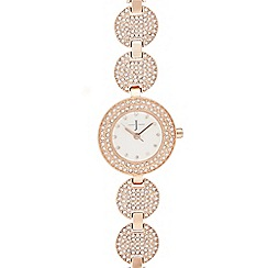J by Jasper Conran - Ladies rose gold diamante watch