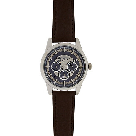 Guess - Men+s brown mock croc leather strap watch