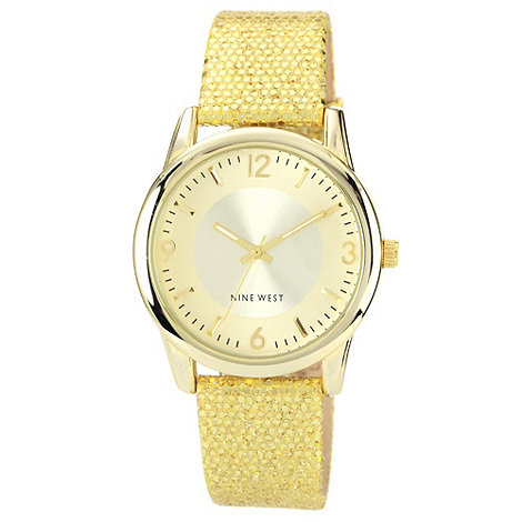 Nine West - Ladies gold round dial leather strap watch
