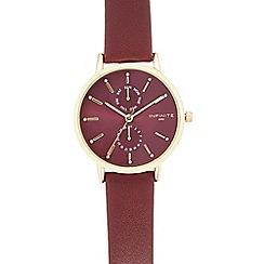 Infinite - Ladies dark red analogue watch
