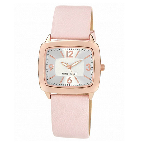 Nine West - Ladies light pink plain leather strap watch