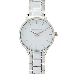 Red Herring - Ladies white and silver plated watch