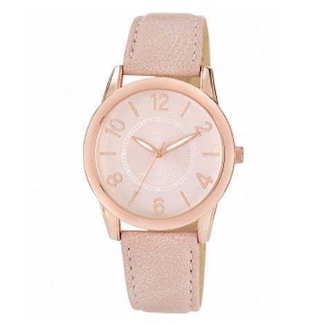 Nine West - Ladies light pink round dial leather strap watch