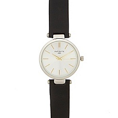 Infinite - Ladies' black leather strap analogue watch