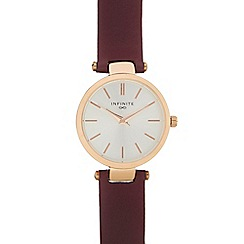 Infinite - Ladies' dark pink leather strap analogue watch