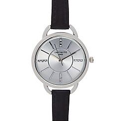 Infinite - Ladies black leather strap watch