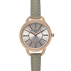 Infinite - Ladies grey leather strap watch