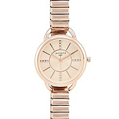 Infinite - Ladies rose gold plated stretch bracelet watch