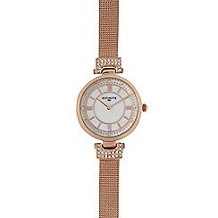 Infinite - Ladies gold plated mesh diamante circle watch