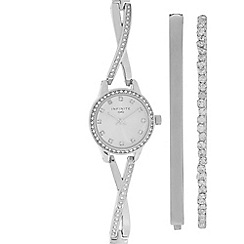 Infinite - Ladies silver plated cross-over diamante watch