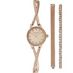 Infinite - Ladies gold plated cross-over diamante watch