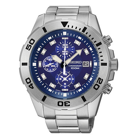 Seiko - Men+s stainless steel chronograph dial watch