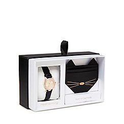Red Herring - Black cat watch and card holder gift set