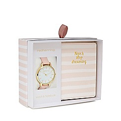 Red Herring - Ladies pink analogue watch and notebook gift set