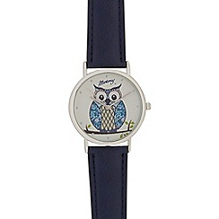 Mantaray - Ladies blue owl analogue watch