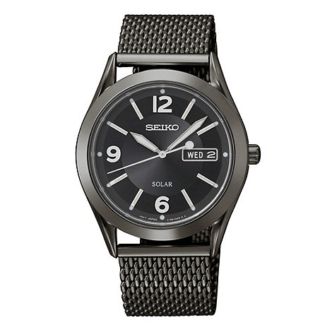 Seiko - Men+s black analogue dial mesh strap watch