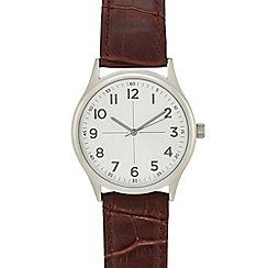 Infinite - Men's brown croc-effect analogue watch