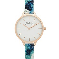 Mantaray - Ladies turquoise floral print watch