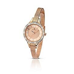 Accurist - Ladies rose gold quartz mesh bracelet watch
