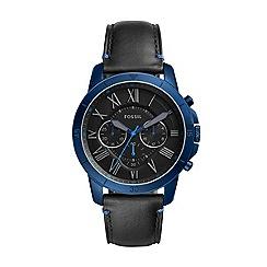 Fossil - Men's black 'Grant Sport' leather strap watch