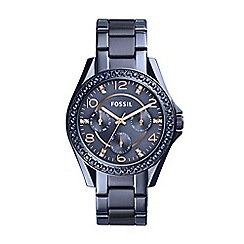 Fossil - Ladies blue 'Riley' bracelet watch