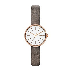 Skagen - Ladies grey 'Signatur' quartz leather strap watch