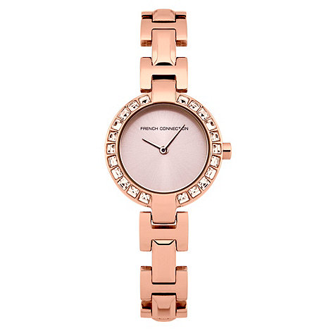 French Connection - Ladies rose stainless steel diamante bezel watch
