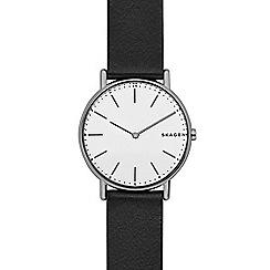 Skagen - Men's black 'signature' quartz leather strap watch