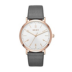 DKNY - Ladies grey 'Minetta' leather strap watch