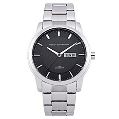French Connection - Men's black dial stainless steel watch