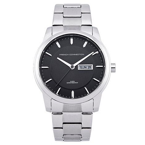 French Connection - Men+s black dial stainless steel watch