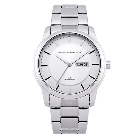 French Connection - Men+s silver dial stainless steel watch