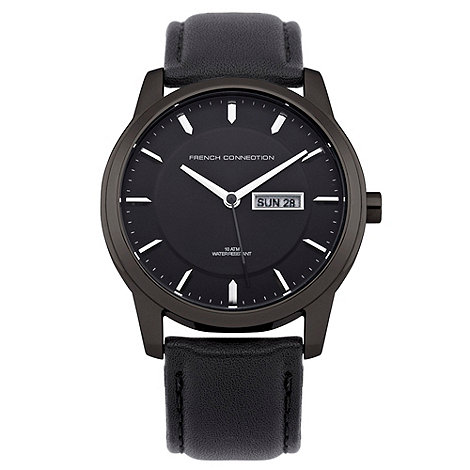 French Connection - Men+s black leather strap date watch
