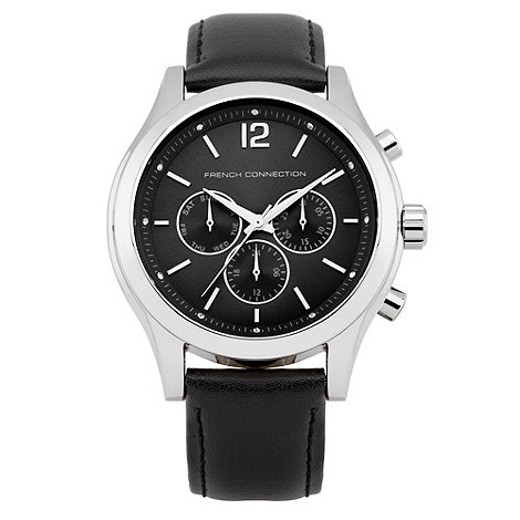 French Connection - Ladies black leather strap watch