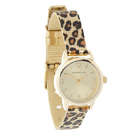 Red Herring - Ladies gold leopard mesh bracelet watch