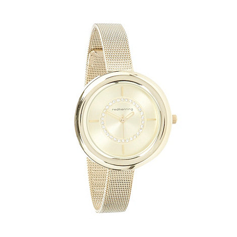 Red Herring - Ladies gold skinny mesh strap watch