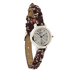 Mantaray - Ladies dark brown floral plaited strap watch