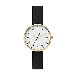 Skagen - Ladies black 'Signatur' quartz leather strap watch