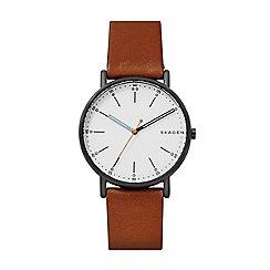 Skagen - Men's brown 'Signatur' quartz leather strap watch